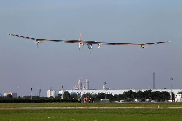 Le Solar Impulse, invité d'honneur du plus grand... (Photo: AFP)