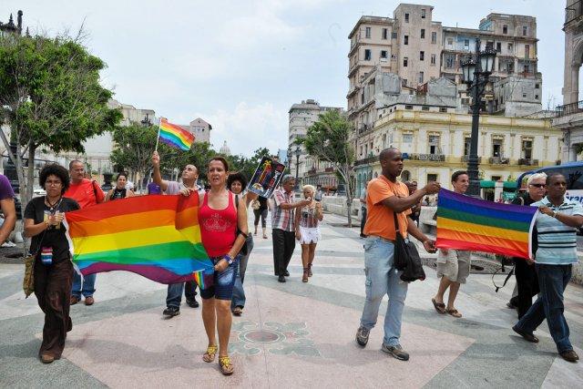 La courte manifestation -sur cinq cent mètres, de... (Photo: Adalaberto Roque, AFP)
