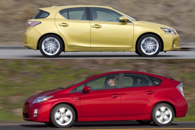 La Lexus CT 200h (en haut) et la... (Photos fournies par Lexus et Toyota)
