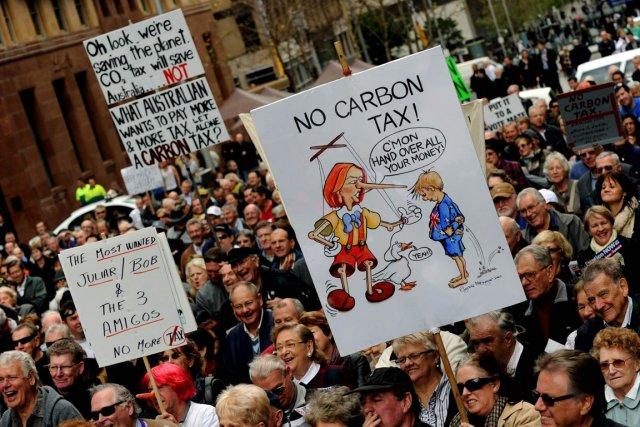 La taxe du carbone compte nombre d'opposants en... (Photo: AFP)