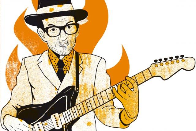 Elvis Costello est le premier à s'étonner d'être... (Illustration: Francis Léveillée, La Presse)