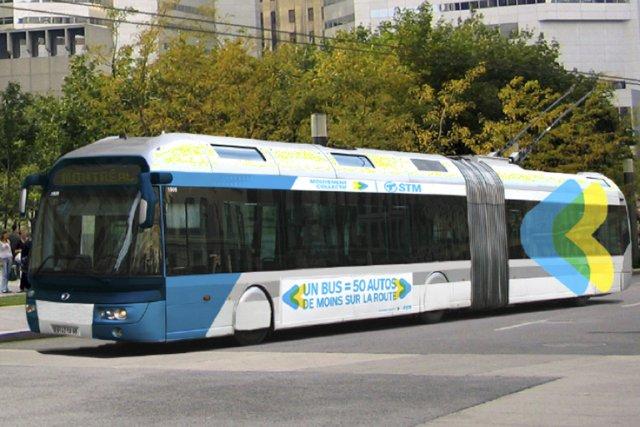 Les trolleybus sont alimentés par un réseau aérien... (Illustration fournie par la STM)