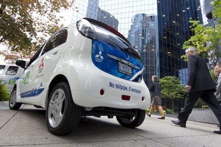 La i-Miev de Mitsubishi... (Photo: Robert Skinner, La Presse)
