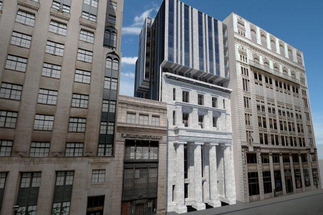 Rue Saint-Jacques, la structure d'une ancienne banque, laissée... (Illustration: Lemay 2011)
