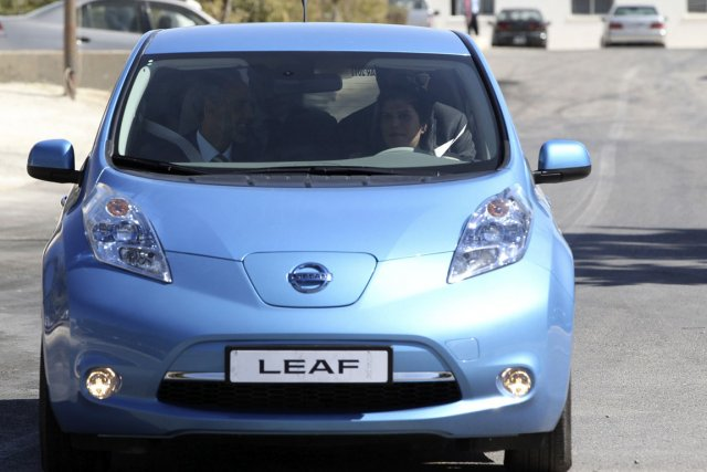 La Leaf électrique de Nissan.... (Photo: MUHAMMAD HAMED, Reuters)