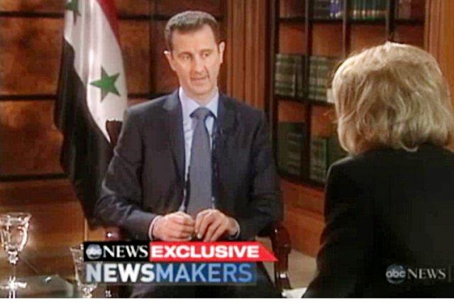 Le président syrien Bachar al-Assad en entrevue avec... (Photo: AFP / ABC)
