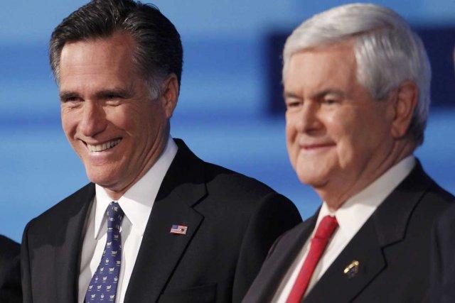 Mitt Romney (à gauche) etNewt Gingrich.... (Photo Associated Press)