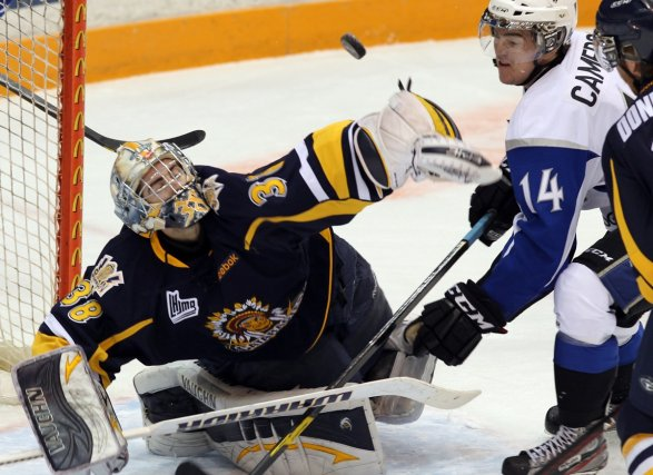 Le gardien des Cataractes de Shawinigan, Gabriel Girard.... (Photo: Peter Walsh - Telegraph Journal)