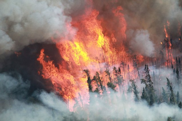 Au moins huit foyers d'incendie sont toujours actifs, dont quatre... (Photo archives PC)