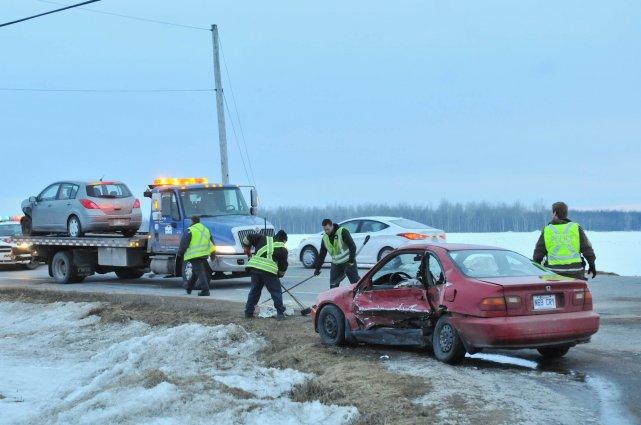 Quatre personnes ont été blessées dans cet accident,... (Photo: Émilie O'Connor)