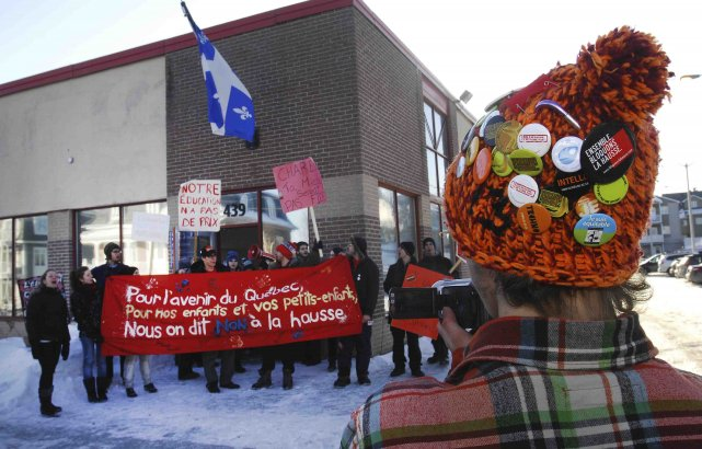 Les étudiants du Cégep de Saint-Félicien ont manifesté... (Photo Michel Tremblay)