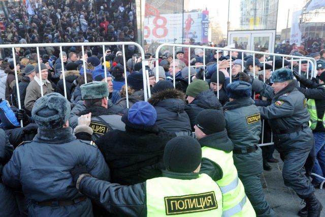 À l'issue de la manifestation, le dirigeant du... (Photo Krill Kudryavtsev, AFP)