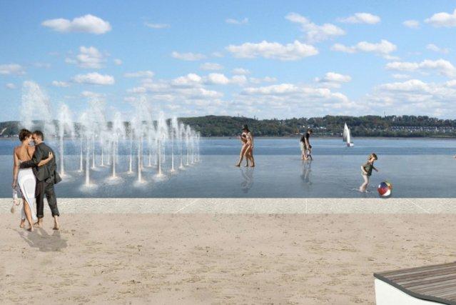 Cette annonce d'un miroir d'eau de 4300 m2... (Esquisse de Daoust Lestage, architecture design urbain)