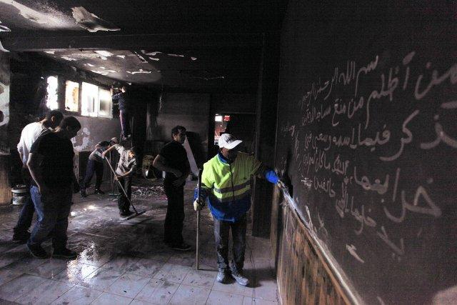 L'incendie a partiellement détruit une salle de prière... (Photo: AFP)