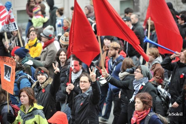 Manifestation étudiante au parc de la Francophonie, à... (Photothèque Le Soleil)