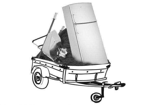 Pour transporter de la terre ou de la pierre en vrac, des rouleaux de tourbe,... (Illustration La Presse)