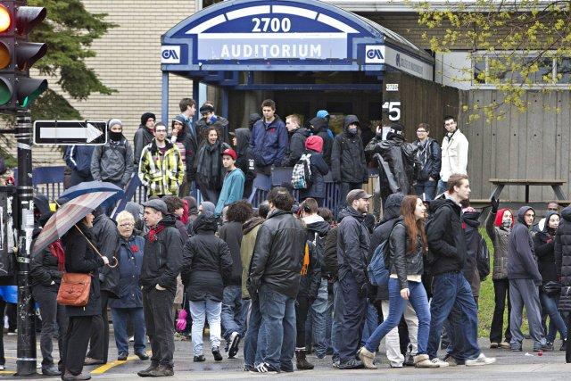 Manifestation devant le Cégep Maisonneuve.... (Photo Patrick Sanfaçon, La Presse)