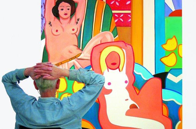 Tom Wesselmann devant son tableau, Nu au crépuscule... (La photothèque de La Presse)