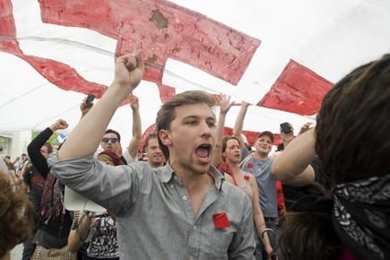 Gabriel Nadeau-Dubois, à l'époque des carrés rouges.... (Photo La Presse Canadienne)