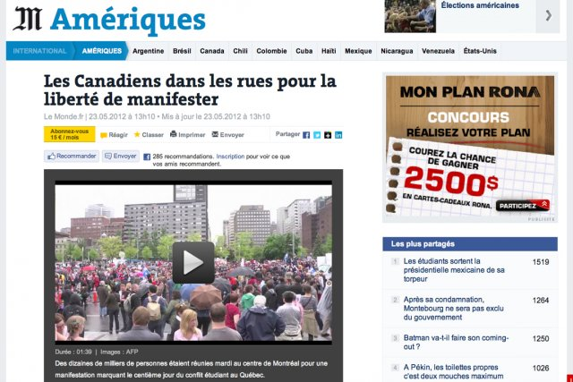 Le Monde.fr a présenté un reportage vidéo (photo)... (Image tirée d'internet)