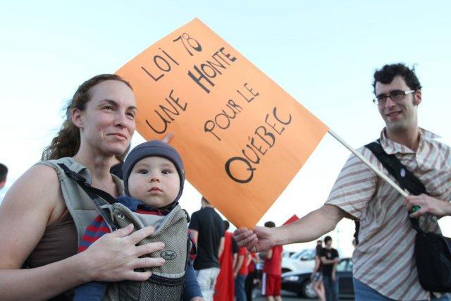 La loi 78 fait de nous des hors-la-loi.... (PHOTO : STÉPHANE CHAMPAGNE, LA VOIX DE L'EST)