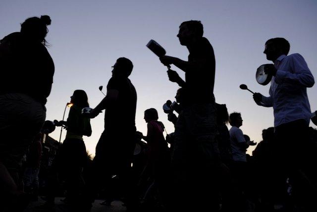 Manifestation étudiante de chaudrons et de casseroles pour... (Photo Bernard Brault, La Presse)
