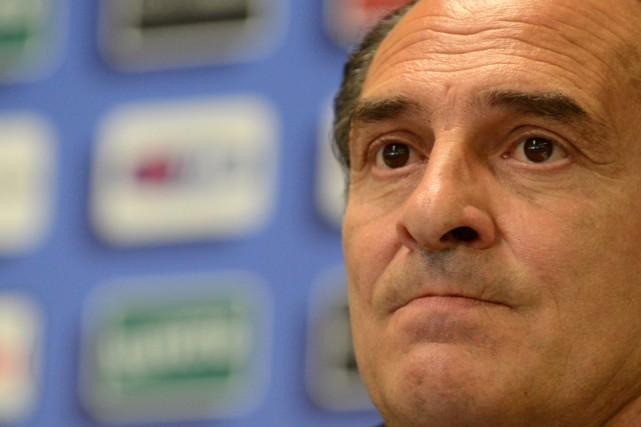 Le sélectionneur de l'Italie, Cesare Prandelli.... (Photo Alberto Lingria, AFP)
