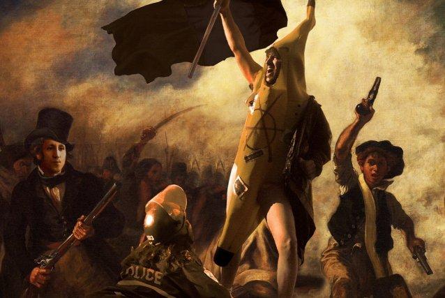 Détail du pastiche du célèbre tableau d'Eugène Delacroix,... (La Presse Canadienne)