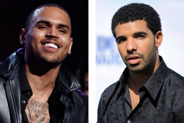 Chris Brown (à gauche) et Drake (à droite).... (Photo: AP)