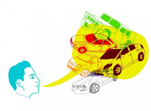 Ambitieux comme la BMW. Cool comme la Fiat. Responsable comme la Dodge Caravan.... (Illustration Francis Léveillée, La Presse)