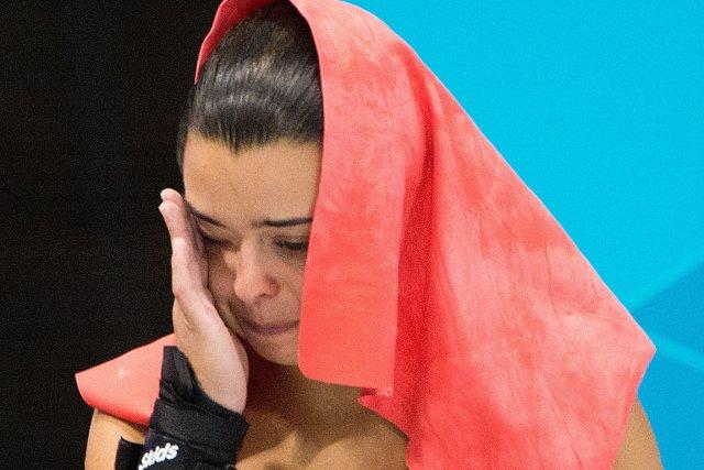 Meaghan Benfeito n'a pu retenir ses larmes après... (Photo: PC)