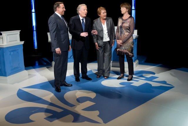 François Legault, Jean Charest, Pauline Marois et Françoise... (La Presse Canadienne)