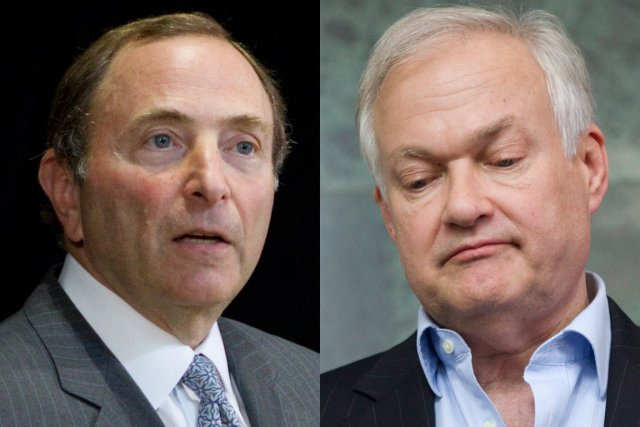 Le commissaire de la LNH, Gary Bettman, et... (Photos : La Presse Canadienne)
