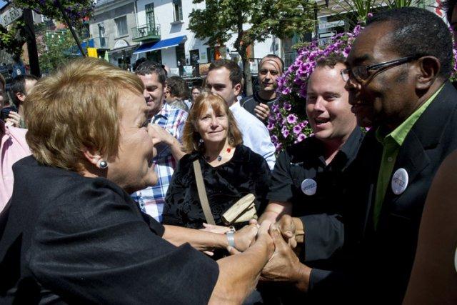 Pauline Marois a rencontré des supporters cet après-midi... (Photo: PC)