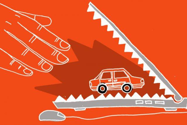 La recherche en ligne d'une voiture d'occasion peut occasionnellement exposer... (ILLUSTRATION CHARLOTTE DEMERS LABRECQUE, LA PRESSE)