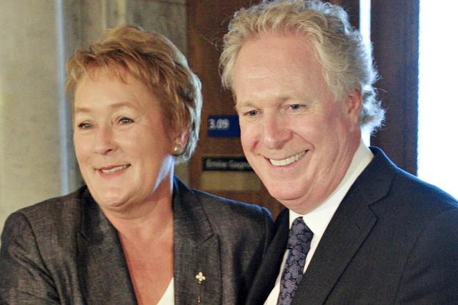 Pauline Marois et Jean Charest, peu après les... (Photo: Le Soleil)