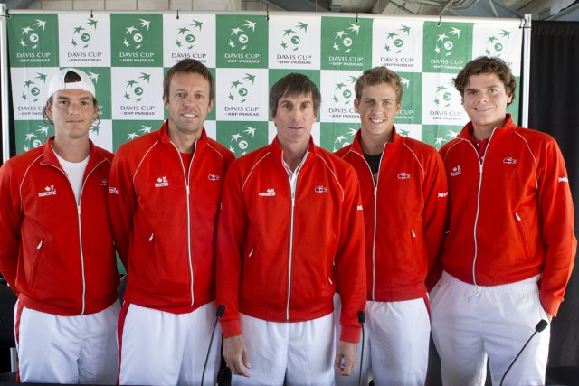 L'équipe canadienne de Coupe Davis: Frank Dancevic, Daniel... (Photo: Robert Skinner, La Presse)
