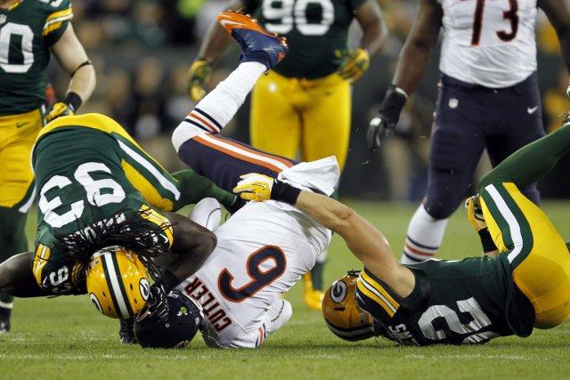 Le quart des Bears Jay Cutler s'est fait... (Photo: AP)