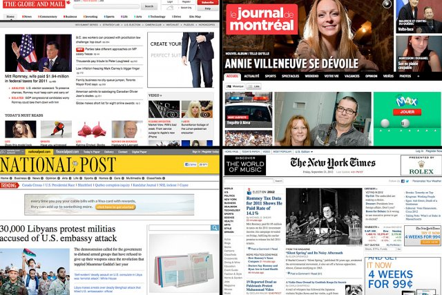 Les sites du Globe and Mail, du Journal... (Photo: tirées sur internet)
