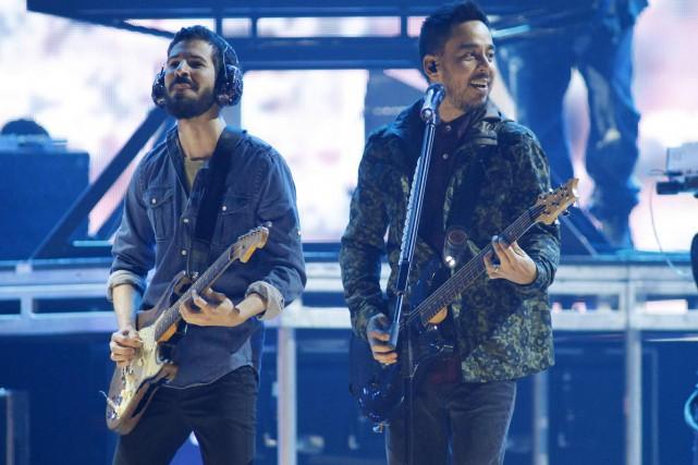 Brad Delson et Mike Shinoda de Linkin Park.... (Photo: Reuters)