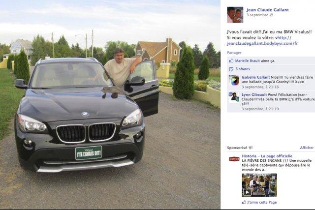 Sur Facebook, Jean-Claude Gallant pose fièrement derrière la portière ouverte... (Photo tirée de Facebook)