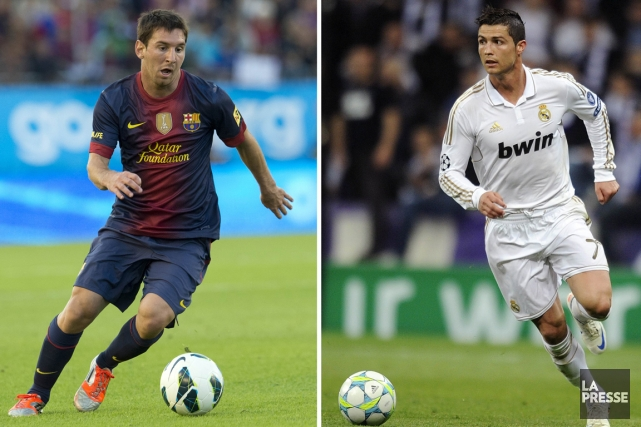 Lionel Messi, du FC Barcelone, et Cristiano Ronaldo,... (Photo: AFP)