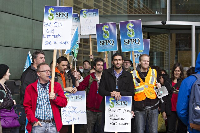 Les employés de soutien deBibliothèque et archives nationales du Québec ... (Photo: Patrick Sanfaçon, La Presse)