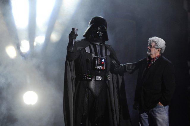 George Lucas et Darth Vader lors des Scream... (Photo: AP)