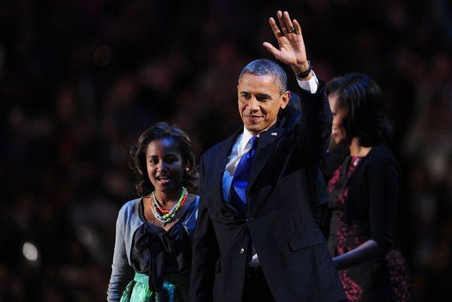 Barack Obama, s'apprêtant à prononcer son discours de... (Photo AFP)