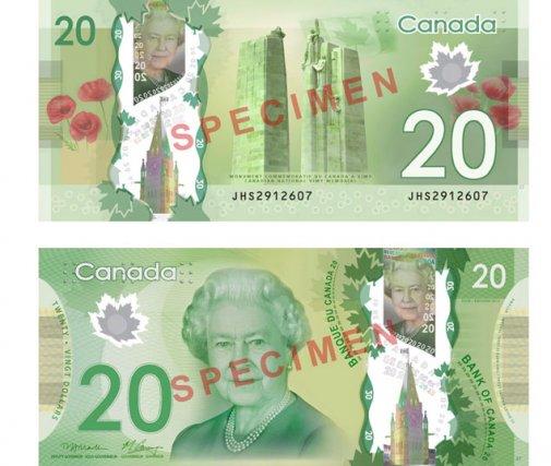 Spécimen du nouveau billet de 20 $ canadien.... (La Presse Canadienne)