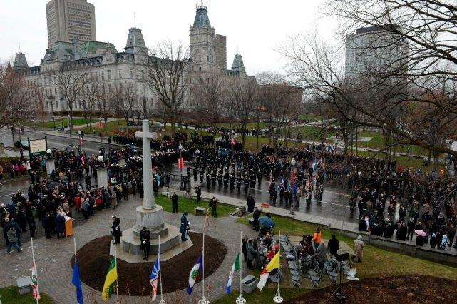 À Québec, la cérémonie a eu lieu à... (Le Soleil, Patrice Laroche)