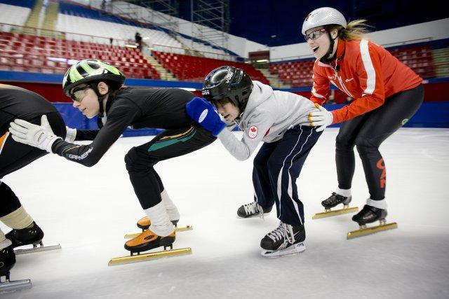 Des membres de l'équipe canadienne de patinage de... (Photo: Marco Campanozzi, La Presse)