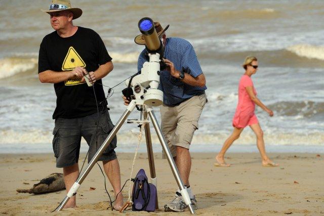 Les chasseurs d'éclipses affluent depuis plusieurs jours dans... (Photo AFP)