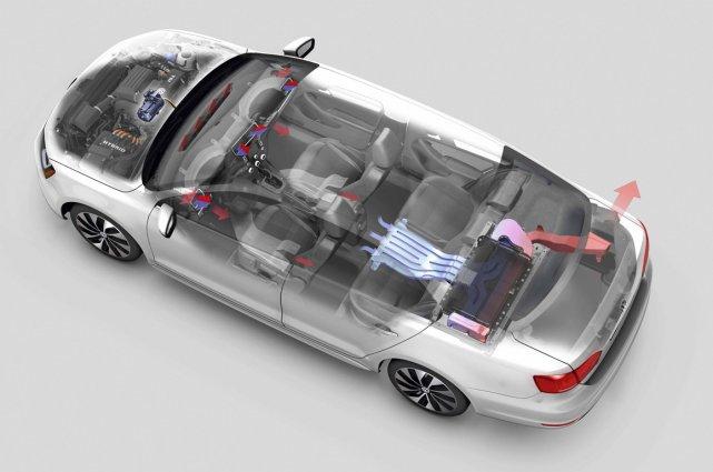 La version Hybrid de la Jetta se reconnaît... (Image fournie par Volkswagen)